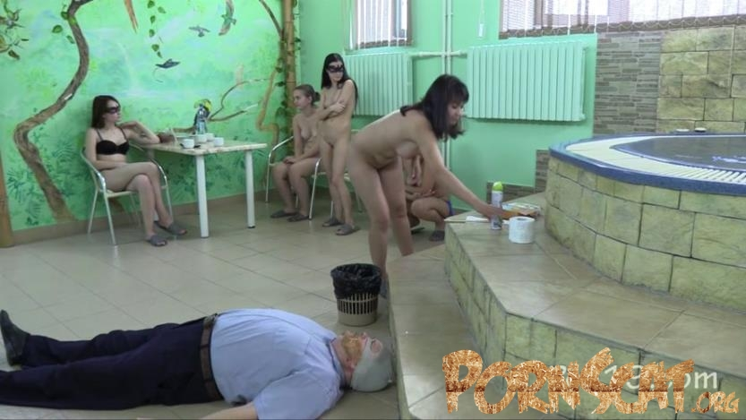 5 Girls tear up the toilet slave with MilanaSmelly  [HD / 2018]