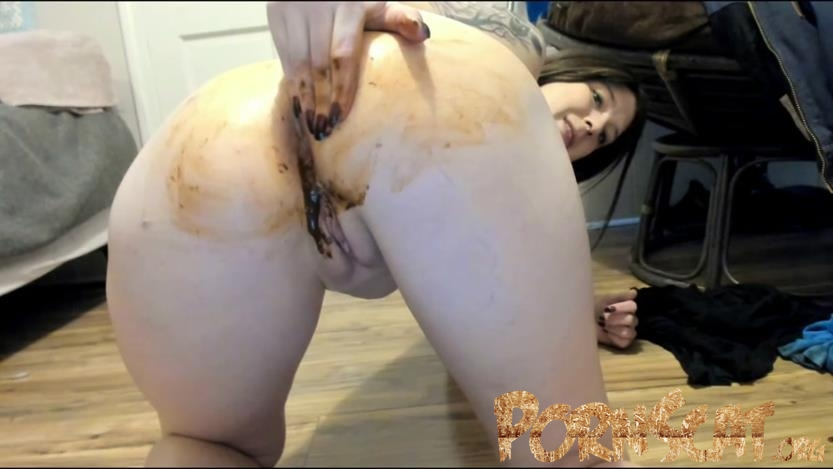 sexy naked babe in latex bent over